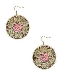 Filigree Flower Disc Earrings - StyleSays