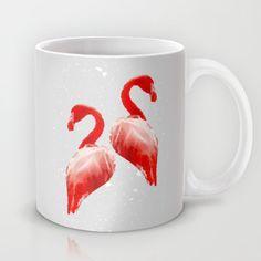 Flamingo Couple Mug #flamingo, #birds, #illustration, #couple