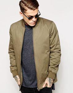 $81, Olive Bomber Jacket: Asos Brand Longline Bomber Jacket. Sold by Asos. Click for more info: https://lookastic.com/men/shop_items/308332/redirect
