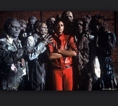 Michael Jackson with his zombie friends