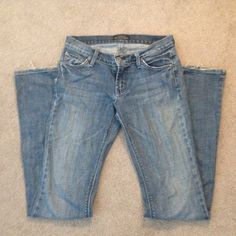 James Cured by Seun Jeans These were very gently loved but still in great condition.  There is a little fraying(pictured) but other than that perfect.  Boot cut and 32 inseam James Jeans Jeans