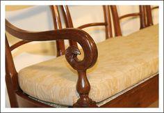 Panca divano Impero Luigi XVI. Noce Emilia noce massello Antiquariato  Dormouse