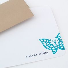 personalized stationery set flat note cards by naomilynn on Etsy, $17.00