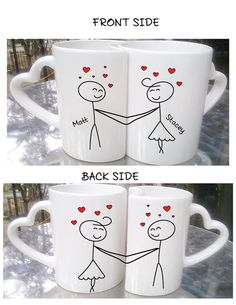 Love Couples Mugs Valentines Day Gifts Mr. and Mrs. by TheCuteTee Love Couples Mugs Valentines Day Gifts Mr. and Mrs. by TheCuteTee Hand Painted Fabric, Hand Painted Mugs, Painted Cups, Couples Coffee Mugs, Couple Mugs, Valentines Mugs, Valentine Day Gifts, Pottery Painting, Ceramic Painting
