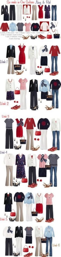 I must take a closer look at this! - Six weeks in one suitcase: Navy & Red work capsule Mode Outfits, Casual Outfits, Fashion Outfits, Womens Fashion, Mode Chic, Mode Style, Work Wardrobe, Capsule Wardrobe, Travel Wardrobe