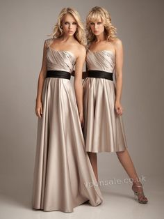 Plicated One Shoulder Long Or Short Bridesmaid Champaigne colored Dress VPBN902