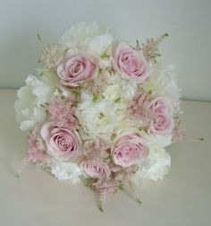 Bouquet of white peonies, pink roses, pink astilbe wedding flower bouquet, bridal bouquet, wedding flowers, add pic source on comment and we will update it. www.myfloweraffair.com can create this beautiful wedding flower look.