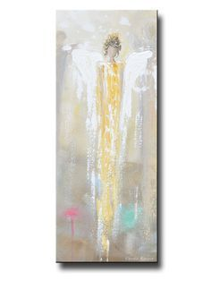 """Her Hope"" Art Angel Painting, Giclee Print, Canvas Print of original art, abstract, guardian angel painting depicting a gentle angel in gold watching over, guiding, providing hope. This contemporary, figurative piece possesses not only a comforting sense of peace & calm, but w/ its' striking shades of gold & textured layers of paint, is elegant- but also contains a vintage, stylish, rustic feel. Art for Charity- 100% net proceeds benefits The Joyful Heart Foundation. Artist, Christine…"