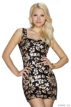 €24,95 zwarte jurk met gouden pailletten  www.Dasonia.com Bestel voor 17:30 en ontvang morgen! Of bezoek onze showroom te Capelle aan den IJssel - Rotterdam