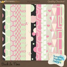 Back In Time - Papers Pack 2 included in {Back In Time} Collection by Sunshine Inspired Designs. includes 13 coordinating pattern papers in mint green, pink, cream, white and black.This Collection will bring back memories of music records and jukeboxes. This retro kit is perfect for scrapbooking all the old photos you have stored in a shoe box at the back of your closet for years now.