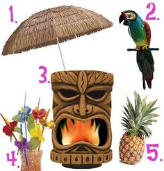Required items for your Tiki party - um not allowed at my wedding! lol