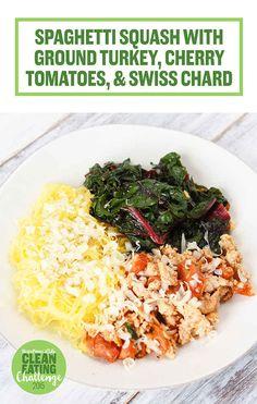Spaghetti squash with ground turkey, tomatoes and swiss chard