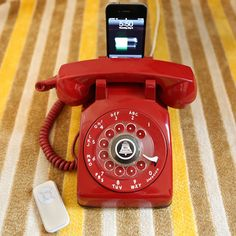 Vintage 60's Red Rotary Phone iPod / iPhone by RotaryRevival