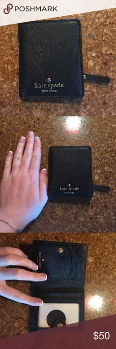 Kate Spade Card Holder Black Kate Spade Card holder. Next to my hand to show size! Can hold cards, drivers license, coins, and small amount of cash! kate spade Accessories Key & Card Holders