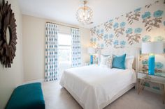 Lucy and Company - bedrooms - turquoise bedroom, turquoise and white bedroom, wallpapered accent wall, wallpapered headboard wall, turquoise. Turquoise Pillows, Bedroom Turquoise, Blue Bedroom, Contemporary Bedroom, Modern Bedroom, Master Bedrooms, Girl Bedrooms, Lily Wallpaper, Bedroom Decor