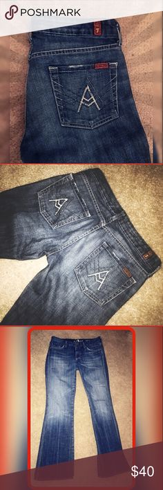7FAM Bootcut Denim 29/32 A-Pocket, Medium/Dark Wash, 7 For All Mankind Bootcut Jeans in EUC!!    Ready to find a home in YOUR closet!! 😍 No rips, holes, stains or other damage; Inseam 32 7 For All Mankind Jeans Boot Cut