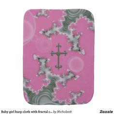 Baby girl burp cloth with fractal cross art design