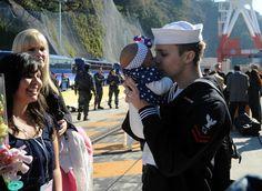 Specialist Barrett Lafferty meets his infant daughter.
