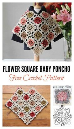 Free Flower Square Baby Poncho Crochet Pattern With these Free Flower Square Kids Poncho Crochet Patterns, you can create squares first, and then join them together to make the beautiful poncho. Crochet Baby Poncho, Crochet Baby Blanket Beginner, Crochet Toddler, Crochet Poncho Patterns, Granny Square Crochet Pattern, Crochet Granny, Crochet For Kids, Free Crochet, Crochet Hats