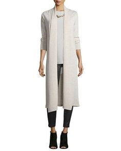 -6X79 Eileen Fisher Washable Wool Kimono Duster Cardigan Sleeveless Silk Long Shell Fisher Project Leather Leggings