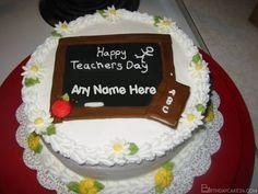 Happy Teacher's Day Cake With Name Generator Teachers Day Cake, Teachers Day Wishes, Happy Teachers Day, Eggless Pineapple Cake, Buy Cake Online, Fondant Cake Designs, Fresh Fruit Cake, Cake Templates, Cake Name