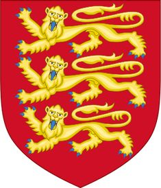 Illustration of the Plantagenet coat of arms, three gold lions on a red background