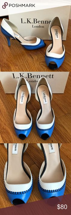 New LK Bennett Arlene peep toe heels Sz 35 & 40 Beautiful brand new blue and white leather peep toe heels from LK Bennett. Still has protective film on soles. Size 35 best correlates with a US 5 and 40 would best correlate with a US 9.5. Perfect for spring/summer! LK Bennett Shoes Heels