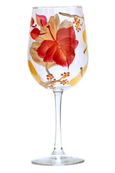 A fiery burst of fall leaves and berries encircling a quality 18.5 ounce wine glass.