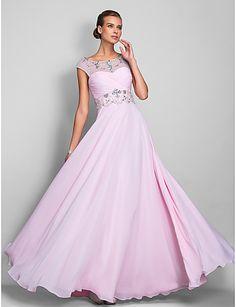 A Line Scoop Floor Length Chiffon Evening Prom Dres