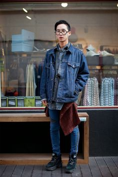 http://chicerman.com  billy-george:  Brave to wear that many layers of denim.  #streetstyleformen