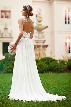 A-Ligne/Princess Bretelles Traîne tribunal Chiffon Robe de Mariée