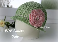 Big Rose, Toddler Cloche Summer Hat, Crochet Pattern, Size 1-2 Years Old, Instant PDF Download by olgascrochetfrenzy on Etsy https://www.etsy.com/listing/239059391/big-rose-toddler-cloche-summer-hat