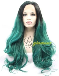 Riglamour Ombre Long Cosplay Green Wig with Black Roots Natural Straight Synthetic Lace Front Wigs Heat Resistant 100% Fiber Hair Half Hand Tied for Women