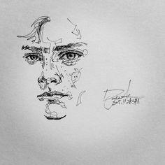 [펜화] man : 네이버 블로그 Ink Pen Drawings, Art Drawings Sketches, Scribble Art, Contour Drawing, Sketch Painting, Pen Art, Art Studies, Grafik Design, Art Sketchbook