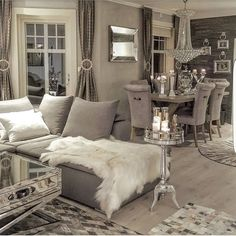 So pretty Glam Living Room, Cozy Living Rooms, Interior Design Living Room, Living Room Designs, Living Room Decor, Dining Room, Living Spaces, Living Room Inspiration, Home Decor Inspiration