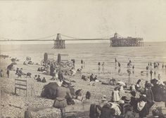 Archive photo of Brighton Beach and the Royal Suspension Chain Pier, Brighton, East Sussex Brighton Sea, Brighton Sussex, Brighton England, Brighton And Hove, East Sussex, Seaside Pictures, Beach Photos, Old Pictures, Old Photos