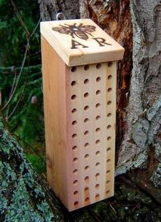 "Mason Bee House - 4""x4"" Untreated wood, 5/16"" bit - Drill holes 3""-3 1/2"" deep - Place on South side of fence, post, ... Mason bees are good pollinators & rarely sting."