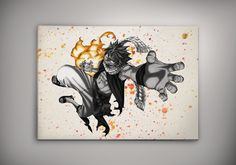 Image of fairy Tail - Natsu - Gray - Juvia - Lucy - Emblem watercolor print poster n201
