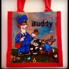 Emily-em Original Bag Designs. Hand-painted Jute Bags. Postman Pat and the Easter Bunny.