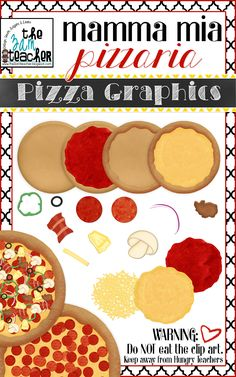 I hope you're hungry!This set includes everything you need to build your very own digital pizza! Dough (in 2 Dough with tomato Cooked Dough with crust Cooked Dough with crust Tomato Sauce Cheese Layer (cooked and Pizza Fractions, Pizza Day, Pizzeria, Speed Foods, Little Chef, Banana Split, Cooking With Kids, Food Art, Clip Art