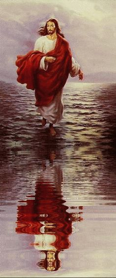 Jesus walking on water (gif) Jesus Our Savior, Jesus Art, Jesus Lives, Jesus Is Lord, Pictures Of Jesus Christ, Religious Pictures, Religious Art, Jesus Walk On Water, Biblical Art