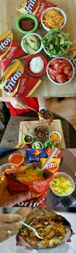 YUMMY !!!  Tacos on the go snack. Or  would be ideal for a taco bar party set up. All your taco fixings to put inside a bag of Frito's or Doritos. Little fun fact : back in the 50's the owner of Frito's Lays had a restaurant inside Disneyland where they served Frito's (no shells or tortilla chips) with tacos. A sales man from the company would deliver the tortillas to his restaurant suggested to turn the leftover tortillas into chips thus the Doritos were invented and tortillas chips started…