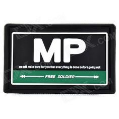 Free Soldier ZY-004 Rubber MP Velcro Sticker - Green   Black   White Price: $3.40