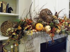 """Our Southern """"Country"""" Home and Farm: Caution: Fall mantle overload from the grapevine queen"""