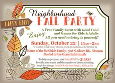 October Sky, Falls Church, Relaxing Day, Block Party, Invite Your Friends, Happy Fall, Games For Kids, Invitations, Games For Children