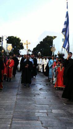 Ελληνισμός και Ορθοδοξία εν Περιφορά Τήνος . Mykonos, Cyprus, Sidewalk, Side Walkway, Sidewalks, Pavement, Walkways
