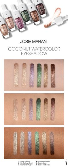 We swatched the new Josie Maran Coconut Watercolor Eyeshadows to see how the colors looked on different skin tones. What do you think? #Sephora #swatches