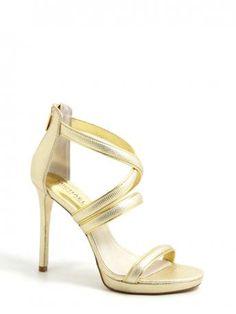 Michael Kors-sandali dorati con tacco-golden heeled sandals-deleney cross strap embossed metallic leather-Michael Kors 2014 shop online