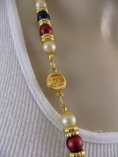 Authentic Chanel Charm Button Repurposed on a Red, White and Blue Necklace