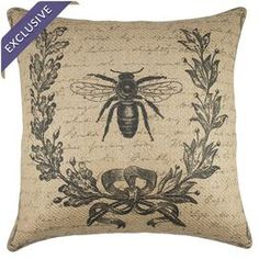 Invite country-chic charm to your home with this bee-adorned burlap pillow, handmade exclusively for Joss & Main.   Product: PillowConstruction Material: Burlap coverColor: Black and beigeFeatures:  Insert includedHandmade by TheWatsonShopZipper enclosureMade in the USA